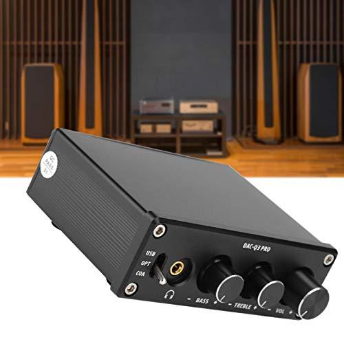 FOLOSAFENAR Amplificador de Auriculares Decodificador de decodificación DAC con Cable de Fibra óptica Ajuste Estable de Sonido Alto y bajo, para Auriculares de 3,5 mm(Black)