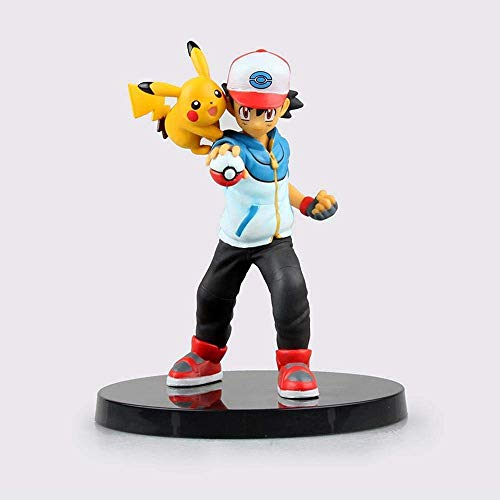 HEWE Pokemon-Figuren, Asche Ketchum und Pikachu-Kombination Anime-Figur, stehende Haltung Animationsmodell Statue Charakter Dekoration Action 13 cm