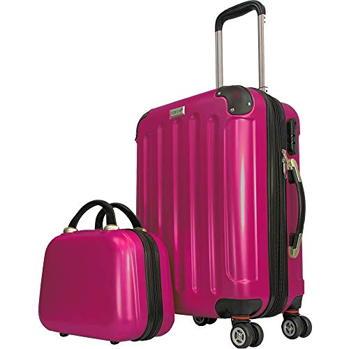 CODE|ONE® 2er-Set | Trolley + Beautycase | Handgepäck | Hartschale | Doppel-Leichtlaufrollen | CODEONE (Raspberry Pink)