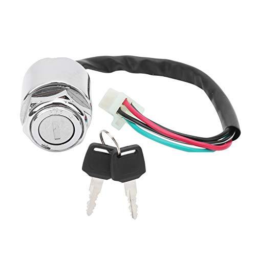 Interruptor de llave de encendido con enchufe macho de 4 cables, juego de interruptor de encendido de motocicleta eléctrica con 2 llaves de repuesto universal para ATV Mini Moto Dirt Bike