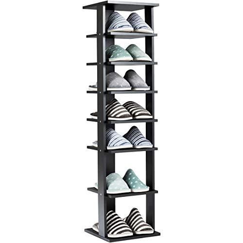 COSTWAY Schuhregal aus Holz, 8-stufiger Schuhständer, Schuh-Organizer vertikal, freistehendes Lagerregal, Eckregal für zu Hause (schwarz)