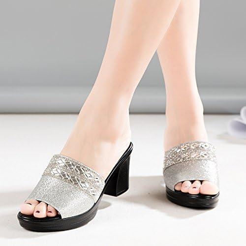 SCLOTHS Tongs Femme Chaussures L'été ouvrir toe vêtements épais avec haut talon de diahommets artificiels à fond épais