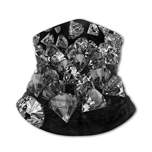 Akhy Multifunctional Headwear Boys Girl Face Mask Headband Neck Gaiter Black Diamond Print Balaclava for Teens