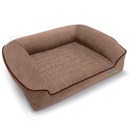BUDDYREST Dormeo Octaspring Bolster Dog Bed - Mocha - MED 34' L 23' W x 12' H