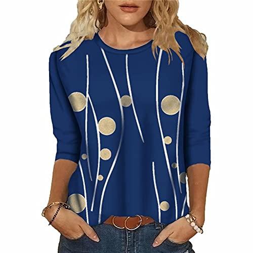ZFQQ Camiseta de Manga Larga con Cuello Redondo y Estampado Multicolor Informal para Mujer de otoño/Invierno
