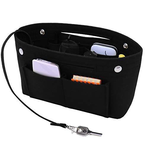 SHINGONE Filz Handtaschen Organizer Tasche Damen, Taschenorganizer Bag in Bag, Innentaschen für Handtaschen mit Schlüsselanhänger - Schwarz S