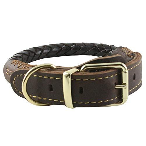 Neuleben Fettleder Hundehalsband Geflochten Halsband Verstellbar für Mittelgroße/Große Hunde (Braun)