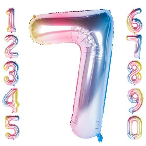 CHANGZHONG 40 Zoll 0 to 9 in Regenbogen Nummer Folienballon Helium Zahlenballon Luftballon Riesenzahl Party Hochzeit Kindergeburtstag Geburtstag (Number 7)