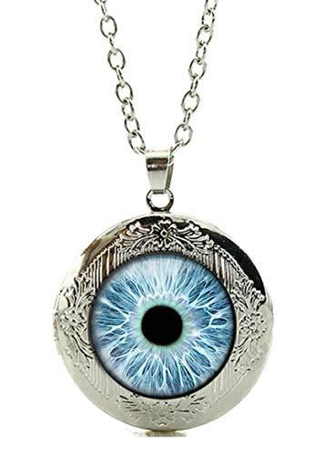 Merchandise for Fans Auge/Pupille/Drachenauge Amulett zum Öffnen - Halskette mit Anhänger aus Glas und Kette/Silberschmuck/Indianerschmuck - 01