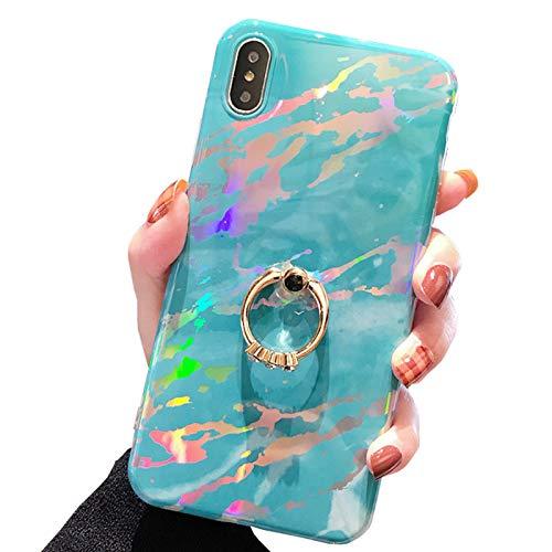 SGVAHY - Funda para iPhone XR, ultrafina de silicona suave con purpurina, soporte para anillo de diamante, a prueba de golpes