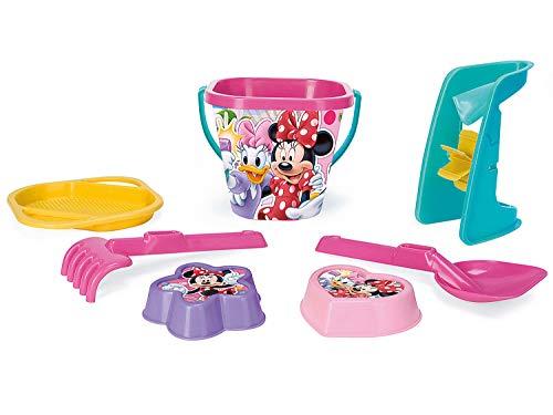 Wader 77442 Eimergarnitur Disney Minnie Mouse mit Eimer, Sieb, Sandmühle, Schaufel, Rechen und 2 Sandformen, 7 teilig, bunt