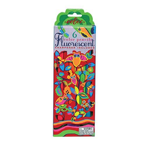 eeBoo Fluorescent Colored Pencils, Owl, Set of 6