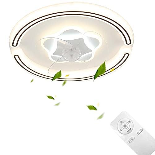 Los Ventilador De Techo con Luz Blanco Regulable Con Mando A Distancia Velocidad Viento Intensidad Regulable 72W LED Techo Moderna Tranquila Luz Lámpara Colgante Dormitorio Ventilador VOMI