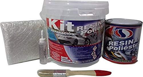 Plainsur - Kit De Reparacion Resina De Poliester Mas Fibra De Vidrio (1 Kg, Cubo)
