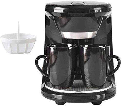 CHNFF Handig koffiezetapparaat, mini-elektrisch, druppelvrij, voor thee, koffie, espressomachine, 2 bekers, zwart