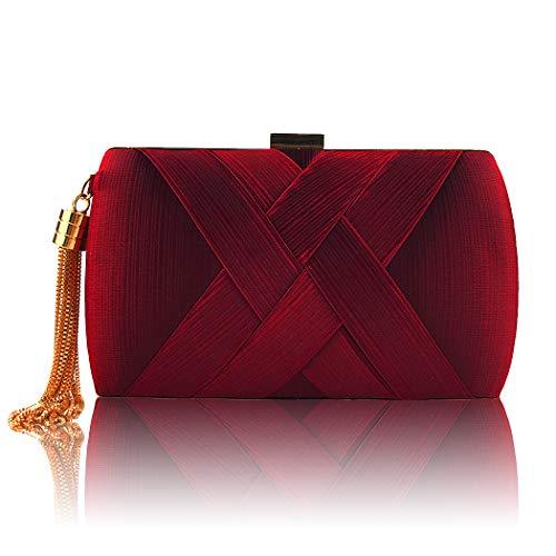 Maysurban Damen Clutch Kettentasche mit Quasten Anhänger Handtasche aus Seiden Party Abendtasche Hochzeit Rot