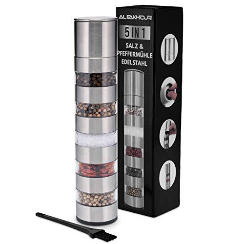 Alfakhouri 5 in 1 Pfeffermühle, Gewürzmühle/Salzmühle/Chilimühle, aus rostfreiem Stahl, nachhaltige Materialien, hochwertige Qualität, inkl. Reinigungsbürste