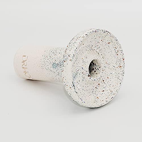 Cazoleta Cachimba Shisha - Barro blanco con chamota - Cerámica Artesanal Hecha a mano - Tipo Phunel esmaltada - Compatible Gestor de calor. (S1-GRANITO)