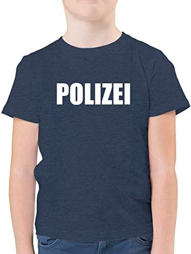 Karneval & Fasching Kinder - Polizei Karneval Kostüm - 128 (7/8 Jahre) - Dunkelblau Meliert - Polizei Kostum 140 - F130K - Kinder Tshirts und T-Shirt für Jungen