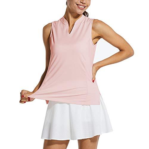 BALEAF Women's Sleeveless Golf Tank Lightweight Quick Dry Tennis Shirts UPF 40+ V-Neck Tank Tops Polo Pink S