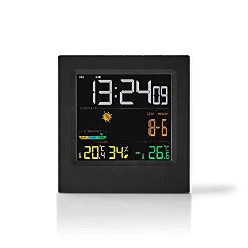 Nedis - Weerstation - Draadloze sensor - Alarmklok - Weersvoorspelling - Temperatuur Binnen/Buiten - Luchtvochtigheid - Kleurendisplay met tijd en datum - Zwart