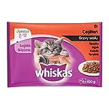 Whiskas Multipack de Comida Húmeda en Gelatina para gatos junior Selección Carnes (4 bolsitas x 100g)