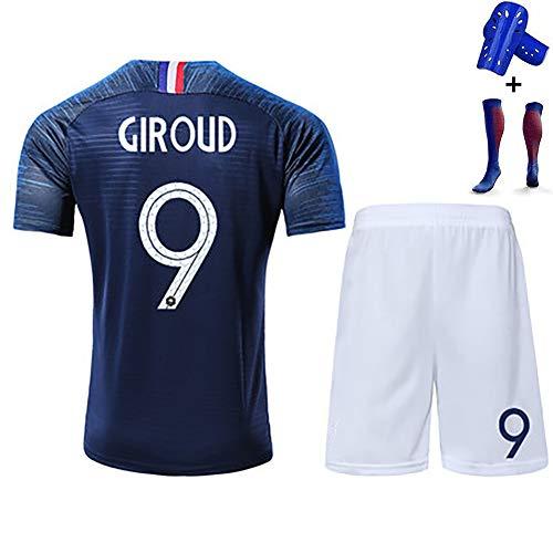 Kinder-Fußball-T-Shirt für Erwachsene, Mbappe Giroud Griezmann, französisches und internationales Trikot-Kit, Polyesterfaser, mit Socken, wiederwaschbar-blue9-140