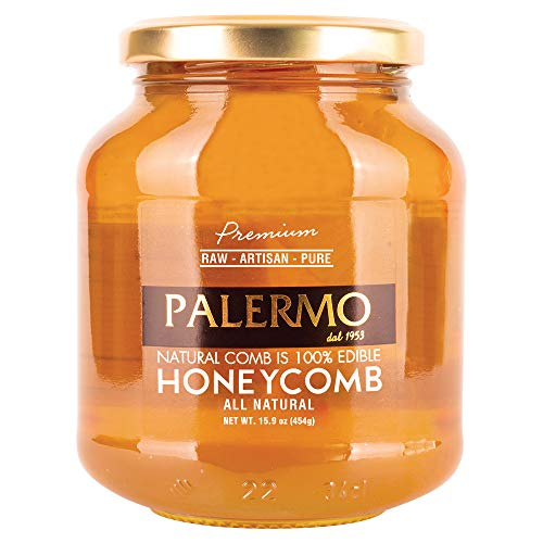 Palermo Premium Honey With Comb, 100% Edible, All Natural, Raw, Artisan, Pure HoneyComb 15.9 Glass Jar
