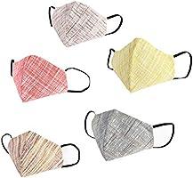 HSR Washable, Reusable Soft Cotton Khadi Cloth Face Mask/Cotton Mask - Pack of 5