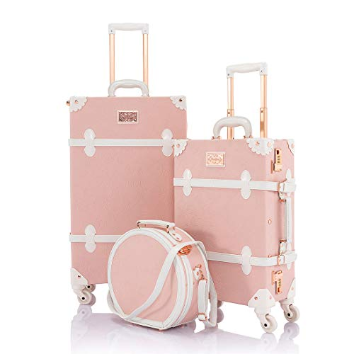 COTRUNKAGE Cute Women 20' Luggage Set 3 Pieces 26' Vintage Trunk Suitcase with Small Hat Box, Embossed Pink