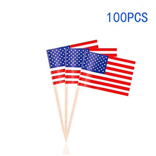 MINGZUO 100 American Flag Toothpicks 4th July Party Patriotic Appetizer Cupcake USA