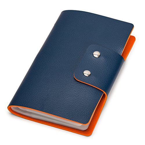 Nicely Neat Leatherette Business Card / Credit Card Organizer Book, 96-Cell, Marine Blue