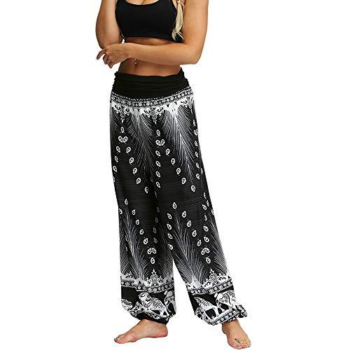Enhome Boho Mujer Pantalones Harem, Yoga Tailandes Hippies Casual Bohemio Impreso Vintage Verano Alta Cintura Elastica Danza Pants Playa Fiesta Estilo Bombachos (S,Elefante Blanco)