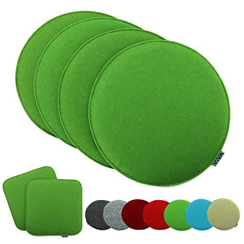 heimtexland ® 4er Pack Sitzkissen Filz Rund 35 cm Gruen Filzkissen Stuhlkissen Polster Auflage Kissen Typ631