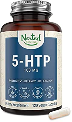 5-HTP 100mg Supplement (5-hydroxytryptophan) | Sleep, Relaxation, Mood Support | Naturally Sourced Serotonin Booster | 120 Vegan Capsules