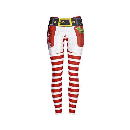 Mallas Deporte Mujer, Leggins Yoga Mujer Pantalones de Yoga Elásticos Divertido Navidad Moda Estampado Running Yoga Pantalón Medias Deportivas 3D Impresión Pilates Fitness Ejercicio Leggins (060,XL)