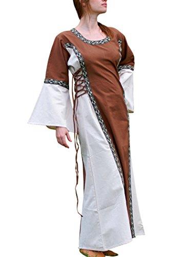 Robe ella moyen-marron/beige avec bordure en coton pour mittelalterkleid lARP, viking Marron Marron xxl
