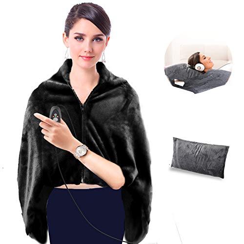 GMAYOO USB Heated Warm Shawl, Electric Heated Plush Throw Blanket with Pillowcase, Heated Cape Heating Lap Blanket, Electric Flannel Blanket 48x40 Inch