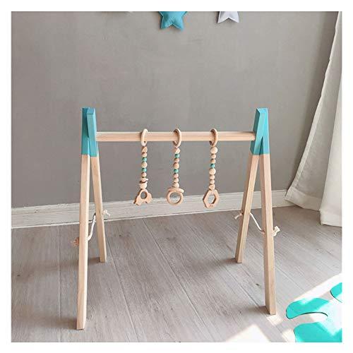 Holz Baby Gym, Holz Kleinkind Baby Aktivität Fitnessstudio Hölzernes Trainingsgerät Baby Fitness Rahmen+3PCS Anhänger Blau mit Anhänger Einheitsgröße