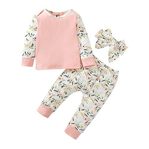 Alunsito Conjunto de pantalones para niñas bebés, camiseta floral de manga larga, tops, pantalones estampados de cintura alta, 2 piezas, ropa informal, rosa, 90 6-9 meses