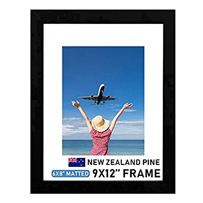 """Beyond Your Thoughts Wood + Real Glass (Hang/Stand) 9""""X12"""" Black Picture Photo Frame with Matted for 6""""X8"""" Photo for Wall and Table Top (1 Pack)"""