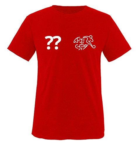 EM Trikot - Schweiz - WUNSCHDRUCK - Kinder T-Shirt - Rot/Weiss - Gr. 110-116