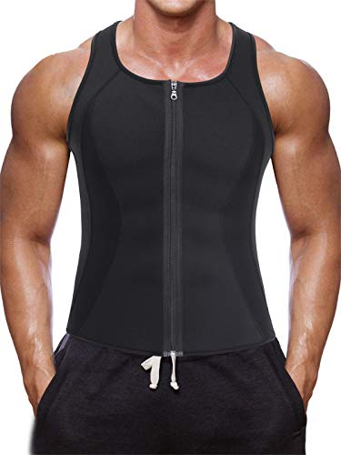 TAILONG Men Hot Neoprene Workout Sauna Tank Top Zipper Waist Trainer Vest Weight Loss Body Shaper Compression Shirt Gym Clothes Corset (Black Workout Tank, 2XL)