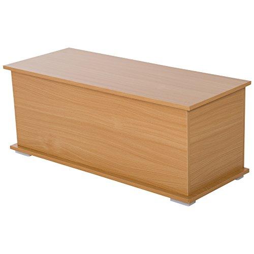 HOMCOM Truhe Aufbewahrungsbox Holzkiste mit klappbarem Deckel Spanplatte Buche 100 x 40 x 40cm - 6
