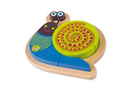 Oops Wooden Mr Mushee 3D Happy Puzzle/Shape Sorter in Vibrant and Super Cute Snail Design