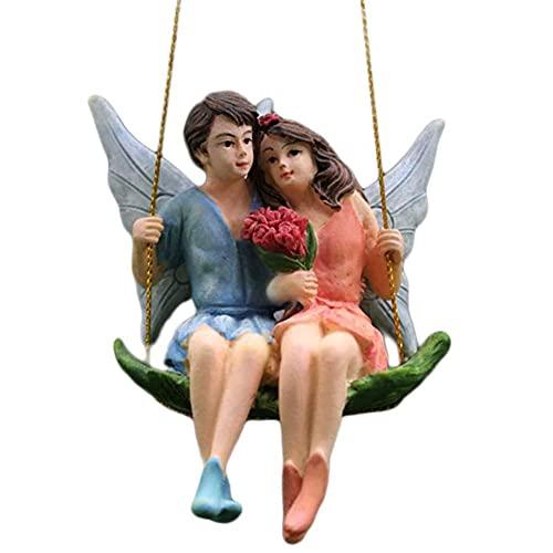 Apofly Fairy Garden Onament Kit - Feen Figuren Paar Miniatur-Statue hängende Verzierung Harz Micro Dekoration mit Schaukel für Outdoor DIY Landschaft-Landschaft