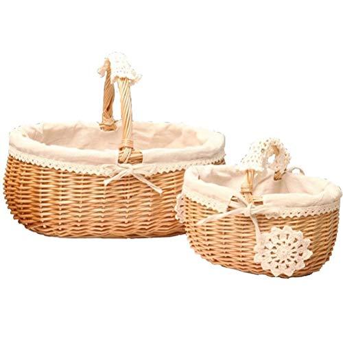 Hand-woven Storage Basket Hanging Basket Natural Rattan Storage Basket Shopping Basket Gift Basket Shopping Basket Country Style, Two-piece Set