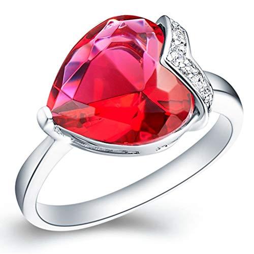 DiaTech Ringe, Plattiert 18K Weißgold Sterling Silber Hochzeitsverlobungsring Für Damen Modeschmuck,Rot,6