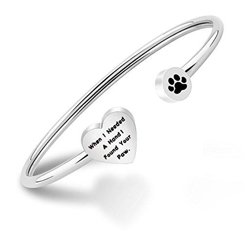 PLITI Dog Lovers Paw Print Bangle Bracelet When I Needed A Hand I Found Your Paw Bracelet for Dog Mom (Dog Paw)