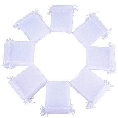 (10 * 12cm) 100pz Sacchetti Bustine Buste in Organza Confetti Portaconfetti Regalo Bomboniere Matrimonio Battesimo Compleanno Festa Confezione Gioielli (Bianco)